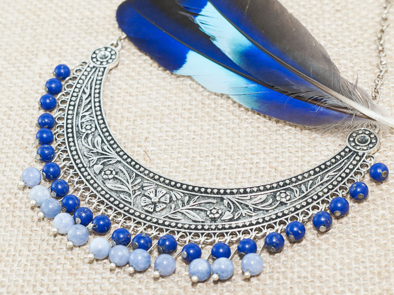 Handmade boho necklace with lapis lazuli and angelite gemstones