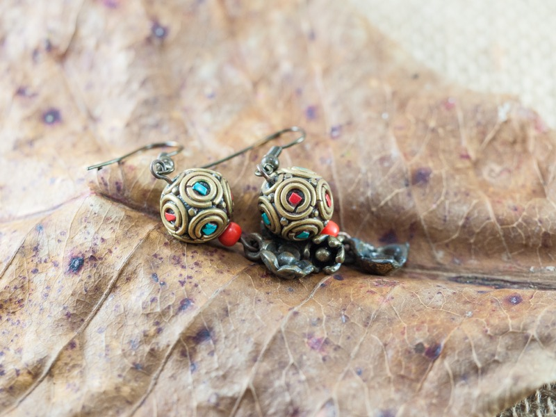 Nepali handcrafted copper beads with coral and turquoise inscrustations