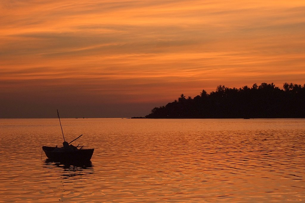 sunset, the boat, ko phangan