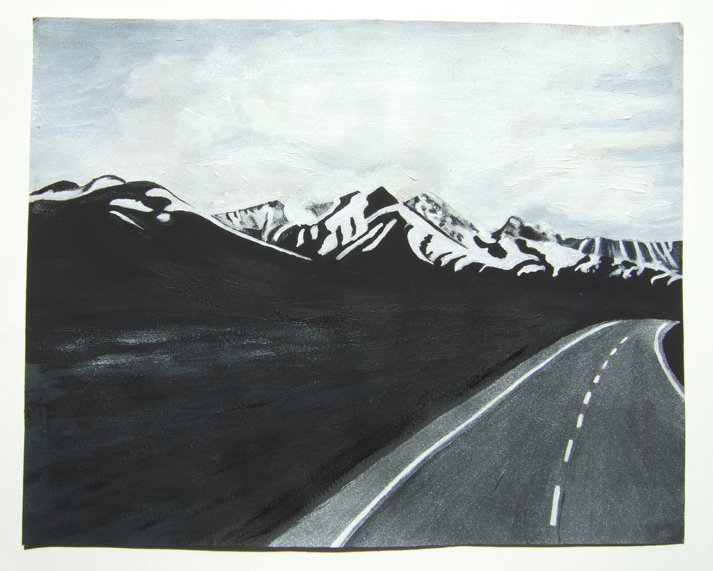 mountains and the road, acrylic color on paper