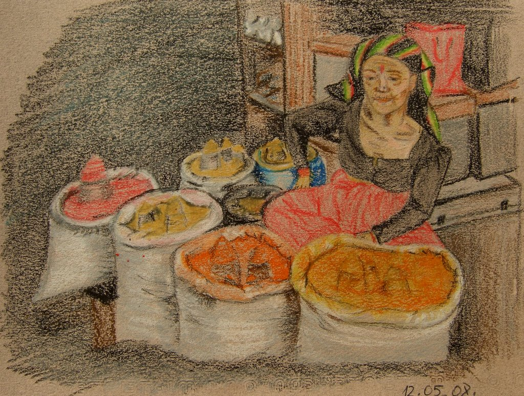 curry vendor in Kathmandu, oil pastel on paper