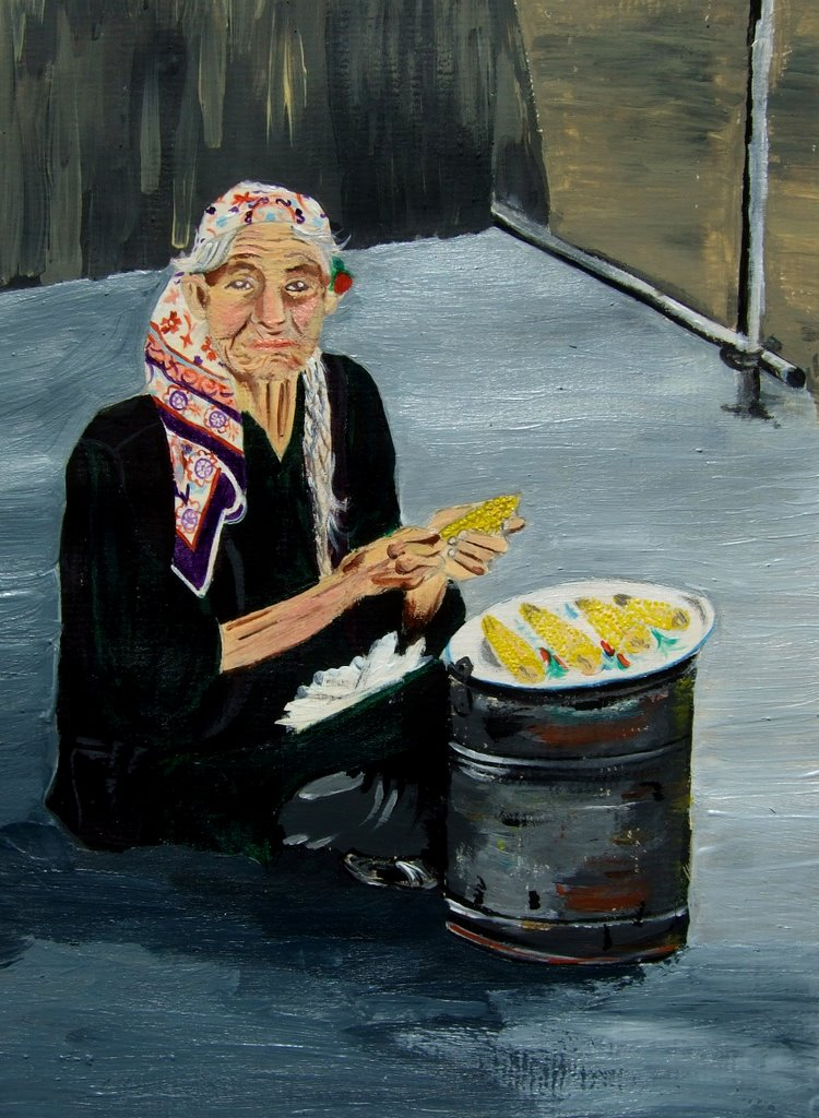 Old lady selling sweet corn in Echen, acrylic color on paper