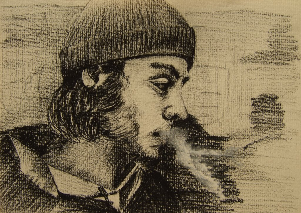 smoker, paper and charcoal pencil, 2008