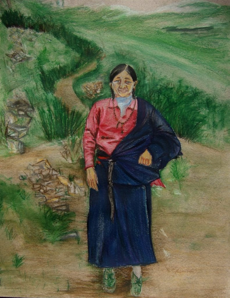 tibetan lady, watercolor pencil on paper