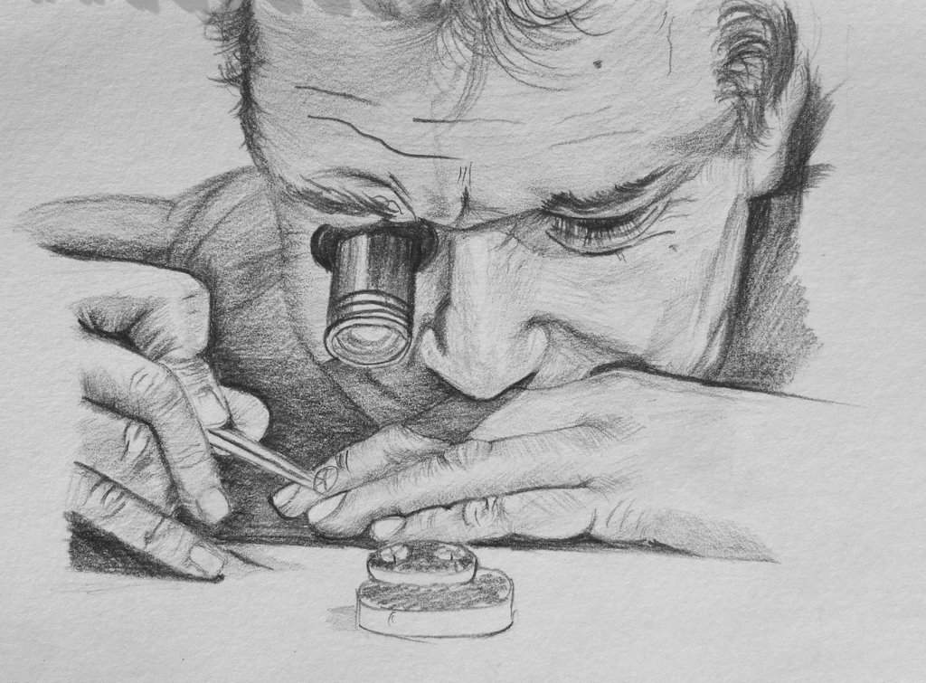 watchmaker, paper and graphic pencil, 2008