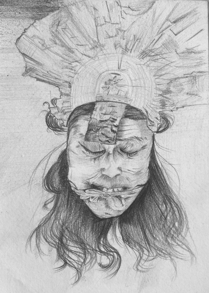 woman face, paper and pencil